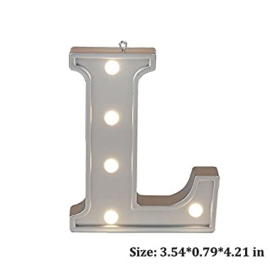 Small Letter L LED Night Light for Kid's Room Decorations Cute Lamp Marquee Letter Lighting For Baby Lovely Birthday Toy Gift Color Silver 1pcs 3.540.794.21 inches