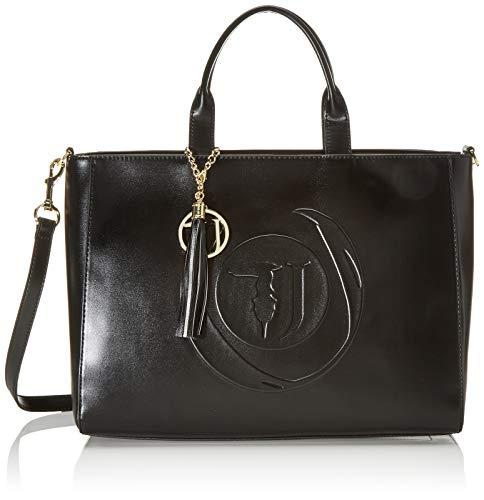 Trussardi Jeans Faith Shopper Lg Smooth Ecolea, Borsa a mano Donna, Nero (Black), 38x17x28 cm (W x H x L)