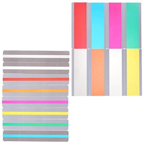 16 peças de tiras guiadas para leitura e rastreamento, réguas, tiras coloridas com sobreposição destacam marcadores de página para estudantes e professores