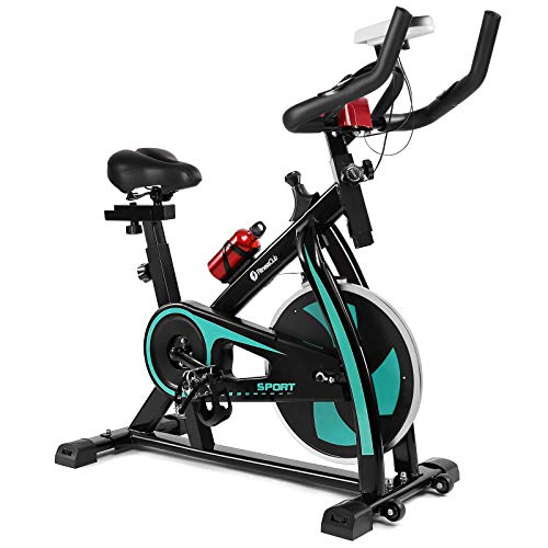 Artist Hand Exercise Bike Cycling Bike Cardio Workout With Belt Driven Flywheel Cycling Adjustable Handlebars Seat Resistance Digital Monitor Heart Rate Sensors Phone Holder Bottle Green