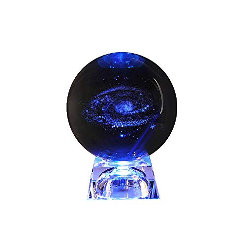 Sonnensystem Kristallkugel mit Beleuchtung 3D Laser graviert Galaxy Kristallkugel Tischlampe Glaskugel dekorative Planeten Miniaturen Büro Dekoration Ornament Geburtstagsgeschenk