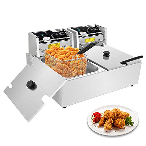 Commercial Deep Fryer, 12.7QT Electric Countertop Deep Fryer with 2 Baskets & Lids Commercial Stainless Steel Electric Deep Fryers for French Fries Fish Turkey Restaurant Home Kitchen (12L)