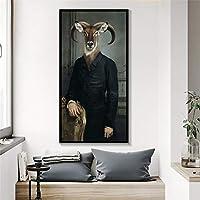 キャンバスウォールアート写真北欧レトロ紳士ヤギキャンバスアートポスタープリントヤギ伯爵キャンバス絵画家の装飾30x60cm(12x24in)内枠