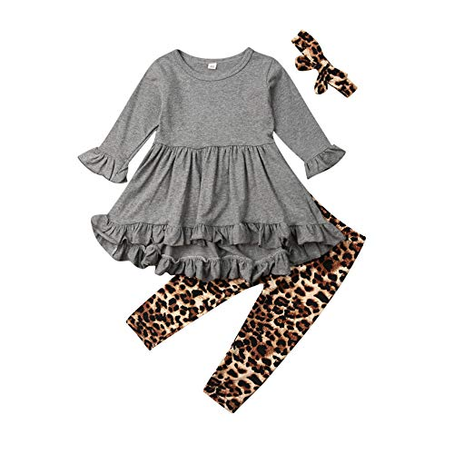 Toddler Baby Girls Outfits Long Sleeve Ruffle Tunic Dress Tops + Leopard Legging Pants Fall Winter Halloween Clothes Set (12-18 Months, Leopard - Grey)