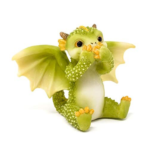 Top Collection Rex The Green Dragon – Mini figura coleccionable de 2.5 pulgadas con texto en inglés 'Speak No Evil'