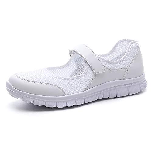 MecKiss - Zapatillas de deporte para mujer, para verano, para el tiempo libre, fitness, caminar, con cierre de velcro, color Blanco, talla 40 EU