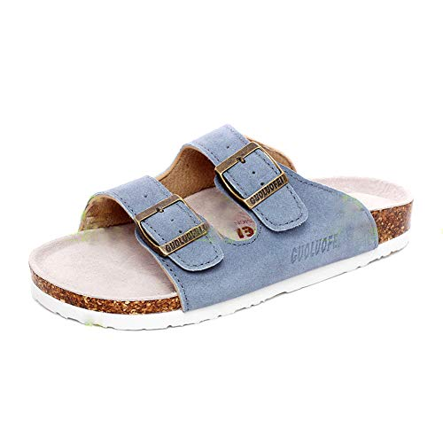 Herren Damen Hausschuhe Flache Pantoletten Kork Sandalen Pantoffeln Leder Zehentrenner Schuhe Regulierbar(blau,40/41 EU,25.5CM Ferse zum Zeh,41 Herstellergröße