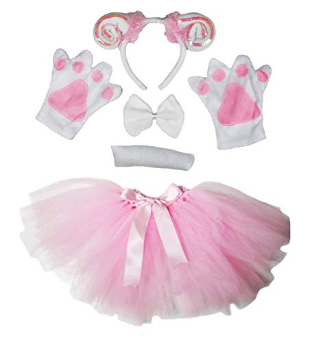 Petitebelle Guantes de diadema de oveja, tut, 5 piezas, disfraz de nia de 1 a 10 aos (lentejuelas blancas/rosas, 5 a 10 aos)