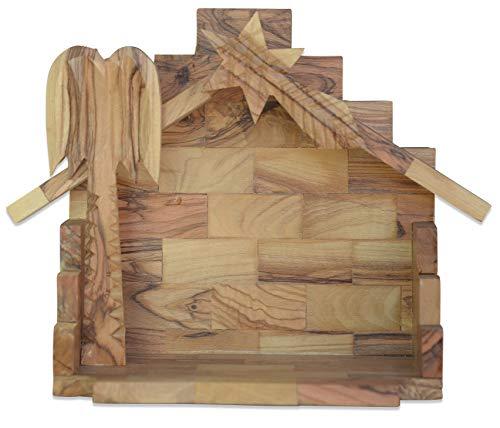 Krippenhaus Bethlehem. Höhe 15 cm. Mit Palme und Stern. Handarbeit aus Olvenholz.