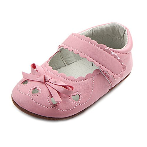Lidiano Baby Girl Soft Rubber Sole Non Slip Mary Jane Sandles Toddler Slippers Shoes Loafers 0-18 Months (6-12 Months, Pink)