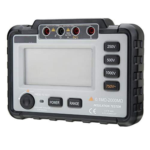 ZYX Erdungswiderstand Tester, Isolationswiderstand Meter Ohmmeter, 0.1-2000MΩ 0-200V, Voltmeter, Digitalmultimeter Messgerät