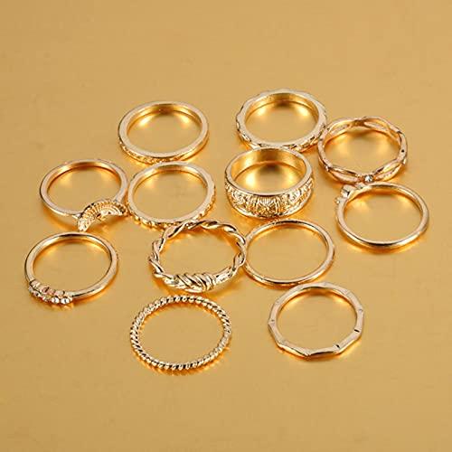 SONGK 12 unids/Set de Anillos de Color Dorado Vintage Bohemio con Diamantes de imitación, Conjunto de Anillos de la Suerte, joyería de Fiesta para Mujer, Hermosos Anillos de Mariposa de Lujo