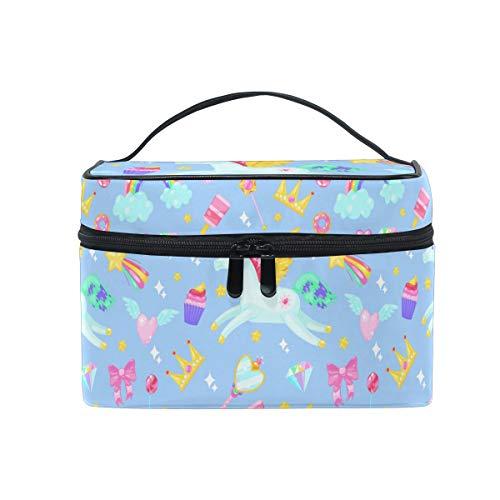 Eenhoorns kroon snoepjes regenbogen make-up tas voor vrouwen cosmetische tas Toiletruimte Trein Case