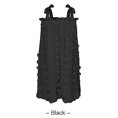 HJKH Vestidos de Verano Atractiva Envuelta Suelta Vestido Floral de la Liga de Verano de Las Mujeres Fiesta Casual Salir (Color : Black, Size : S)