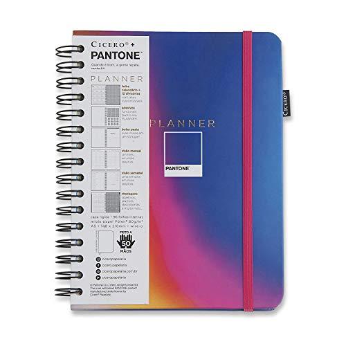 Planner Wire-o Pantone Degradê, Cicero, 3540, Multicolorido, Mensal e Semanal, 75 Folhas, Papel Pólen 80g/m², Tamanho A5 (Grande)