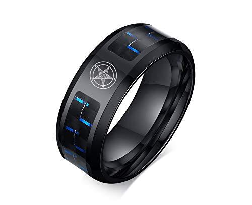 Pentagram Satanic Baphomet Goat Ring Satan Demon Devil Symbol Stainless Steel Carbon Fiber Inlay Band for Men
