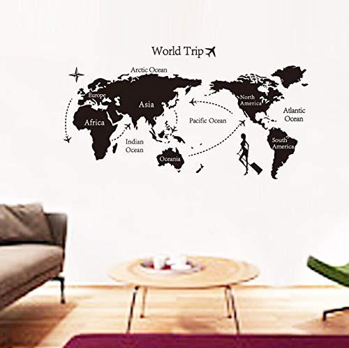 jiuyaomai Weltkarte Wandaufkleber Weltkontur Wohnzimmer Schlafzimmer Dekoration Wandbild Reise Wandbild Vinyl abnehmbares Wandbild E104x57cm