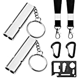 Emergency Whistles with Lanyard, 7Pcs Survival Safety Whistle Self Defense for Hiking Boating Kayaking Camping Hunting Fishing, Whistle with Keychain Caribeaner Clip Credit Card Tool