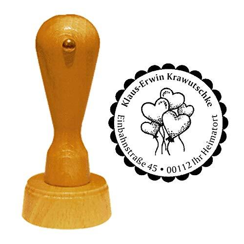 Stempel adresstempel « Hartballon » diameter ca. Ø 40 mm - met persoonlijk adres en motief - hartballonnen Valentijnsdag verloving huwelijk Moederdag