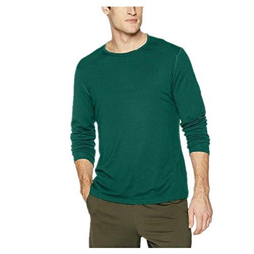 N\\P Herren-Woll-T-Shirt, langärmelig, Unterhemd, Merinowolle, feuchtigkeitsableitend, atmungsaktiv, geruchshemmend Gr. L, Grün (260 g)