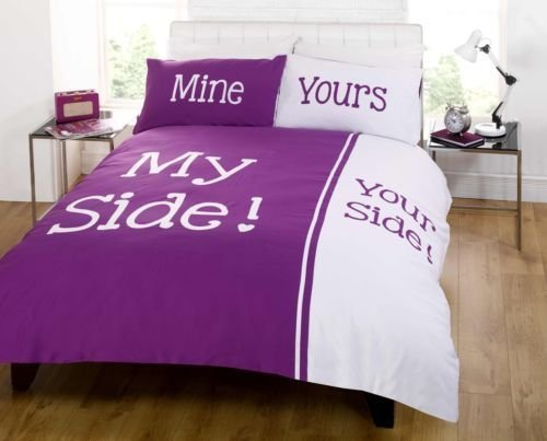 My Side Double Duvet Cover and Two Pillowcases Set Bedding Couples Line, Damson Purple, Polyester-Cotton