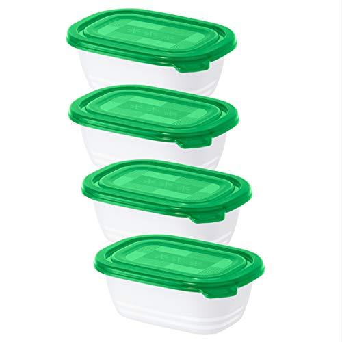 Rotho Freeze 4er-Set Gefrierdosen 0.5 l, Kunststoff (BPA-frei), grün/weiss, 4 x 0,5 Liter (15,5 x 11 x 10,5 cm)
