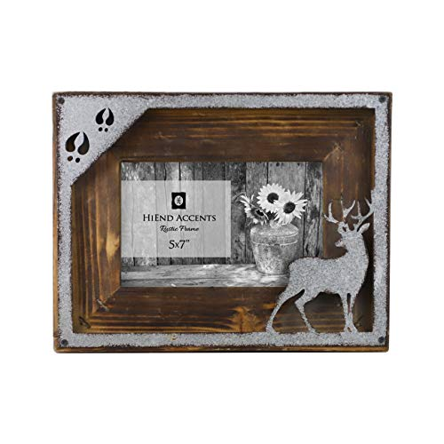 "HiEnd Accents Metal Deer Cutout Rustic 5x7 Wooden Picture Frame, 7"" x 9"" x 1"", Brown & Silver"