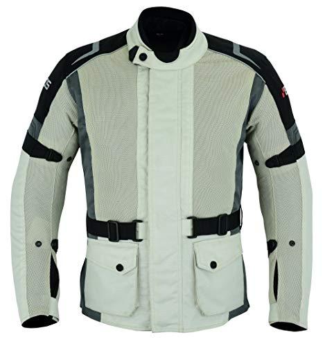 BOS Motorradjacke mit Protektoren Motorrad Jacke, Herren, Sportler -Silber Grau (L)