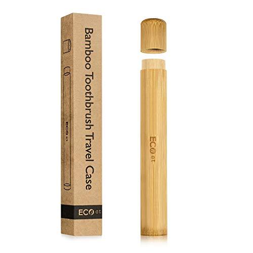 ECOet Cepillo de dientes de bambú natural Carcasa de viaje Tubo   Funda de viaje   Ecológico y biodegradable   Almacenamiento seguro   Bamboo Toothbrush Case