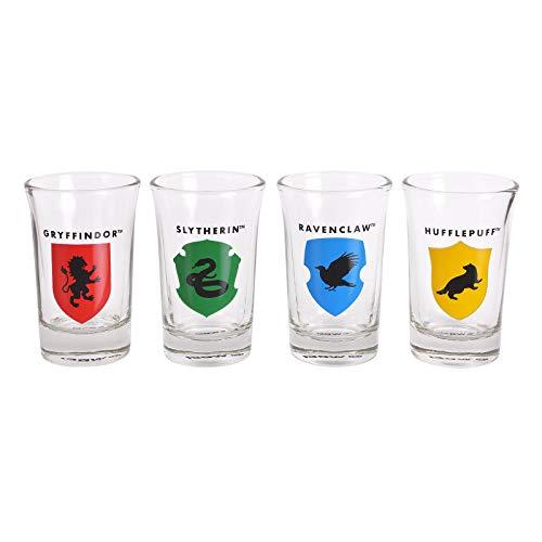 Mini Vasos de Harry Potter, Juego de 4 Casas Hogwarts, 5cl, Bosque Elven