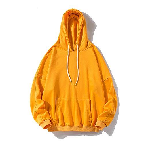 Herbst und Winter Neue Herren Kapuzenpullover Sweater Lose Große Größe Einfarbig Sportjacke Gr. 5X-Large, gelb