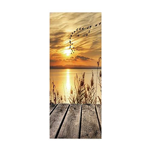 ZDDBD Türtapete Selbstklebend Türposter 3D Bewirken Fototapete Türfolie Poster Tapete Abnehmbar Wandtapete Für Wohnzimmer Küche Schlafzimmer 90X200Cm ( Sonnenuntergang )