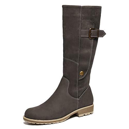 Camfosy Botas para mujer Botas de invierno hasta la rodilla Botas altas con forro de piel Zapatos cálidos de tacón bajo Botas largas para la nieve Calzado informal retro Negro Marrón Gris Grey