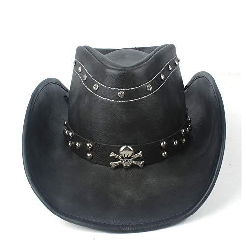 Sombrero de moda 100% Cuero Mujer Hombre Negro Western Cowboy Sombrero Con Roll Up Brim Cinturón Punk Jazz Sombrero Sombrero Tamaño 58-59CM Casquillo al aire libre ( Color : Negro , tamaño : 58-59cm )