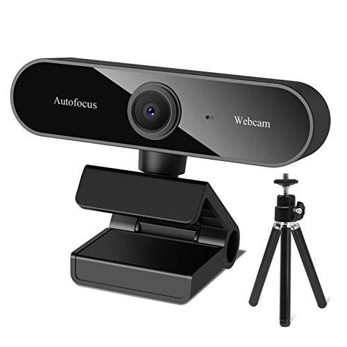 QI-EU 1080P HD Webcam mitMikrofon, USB Webcam mit Stativ, Webcam USB 2.0 Plug und Play für Live-Streaming,Videochat und Aufnahme, kompatibel mit Windows, Mac und Android