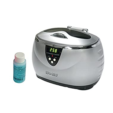 iSonic D3800A-S+1OZ Digital Ultrasonic Cleaner, Silver color with chrome plated trims, 1.3Pt/0.6L, 110V, Sample Solution Included
