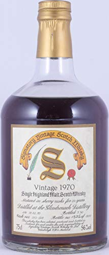 Glendronach 1970 20 Years Dark Sherry Cask 513-518 Signatory Vintage Highland Single Malt Scotch Whisky Cask Strength 56,0% Vol. - seltene alte 75cl Dumpy Bottle Abfüllung!