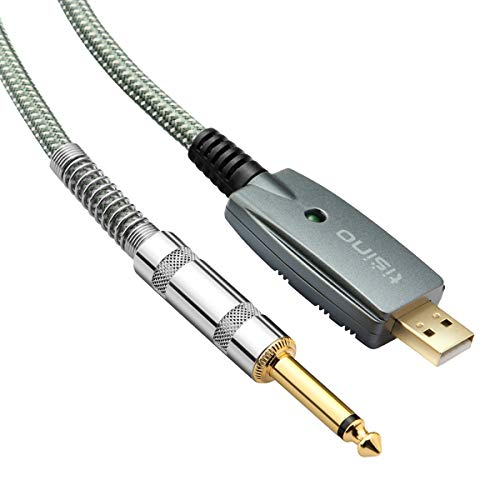 TISINO USB Guitar Cable, 10 ft USB to 1/4 inch TS Mono Jack Instruments Cord - Green
