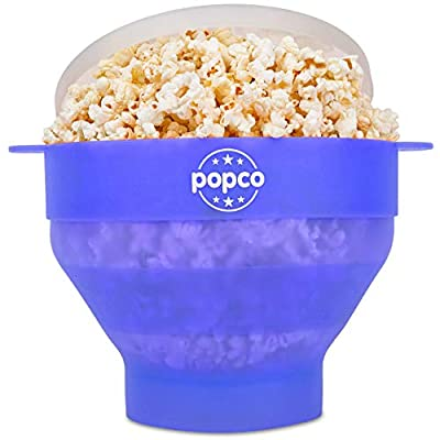 The Original Popco Silicone Microwave Popcorn Popper with Handles, Silicone Popcorn Maker, Collapsible Bowl Bpa Free and Dishwasher Safe - 10 Colors Available (Transparent Glacier Blue)