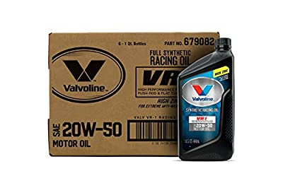 Valvoline VR1 Racing Synthetic SAE 20W-50 Motor Oil 1 QT, Case of 6
