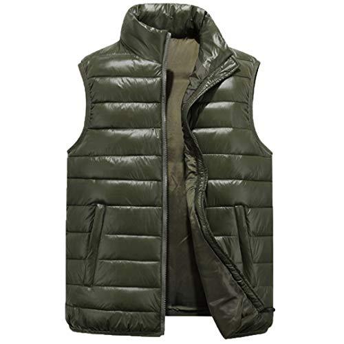 Hommes Manteau sans Manche Fermeture à glissière Solide Pardessus Chaud vers Le Bas Gilets Vestes Gilet 2 6XL