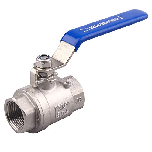 DERNORD Full Port Ball Valve Stainless Steel 304 Heavy Duty for Water, Oil, and Gas with Blue Locking Handles (3/4 NPT)