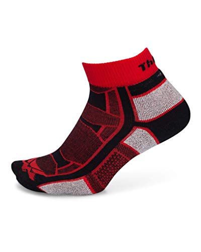 Thorlos OAQU Thin Cushion Outdoor Athlete Ankle Socks, Red, Medium