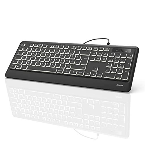 Hama USB Tastatur beleuchtet mit Kabel 'KC-550' (laserbeschriftet, deutsches Tastenlayout QWERTZ, 12 Media-Tasten, ergonomische Tastatur für PC und Laptop, flach, extra langes Kabel 180 cm) schwarz