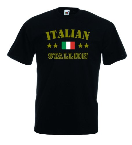 World-of-Shirt Italian Stallion Herren T-Shirt Italien|schwarz L