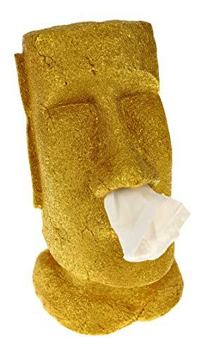 Rotary Hero - Moai Taschentuchbox/Taschentuchspender/Kosmetiktücherbox - Gold - 31.5x18x19 cm