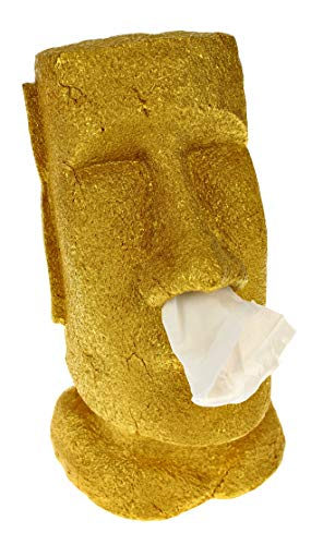 Rotary Hero - Moai Taschentuchbox/Taschentuchspender/Kosmetiktücherbox (Gold)