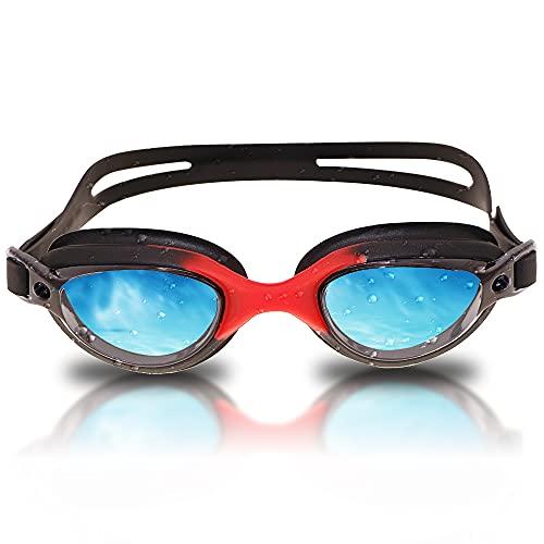 RABIGALA Gafas de natación polarizadas, antiniebla, antirrayos UV, sin fugas, visión clara, para niños, adolescentes, jóvenes, hombres, adultos (negro, S)