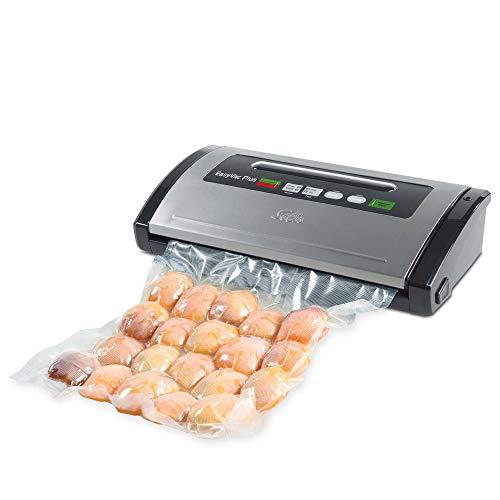 Solis Vac Plus 571 Vakuumverpackungsmaschine für trockene und feuchte Lebensmittel, Vakuumverpackungsmaschine mit Vakuumschlauch und Marinierfunktion, Ablagefach für Folie Vakuumbereich von -0,8 bar
