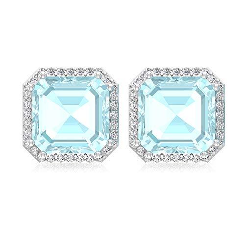 Pendientes de tuerca con topacio azul de 4.2 quilates, forma de Asscher, certificado IGI, pendientes de boda de diamantes, HI-SI, pendientes de novia de diamantes, tornillo hacia atrás